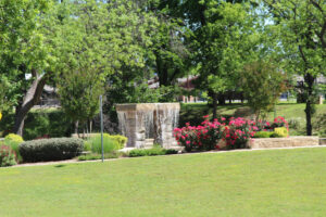 Fountain near A Memory Grows retreat location in Granbury Texas