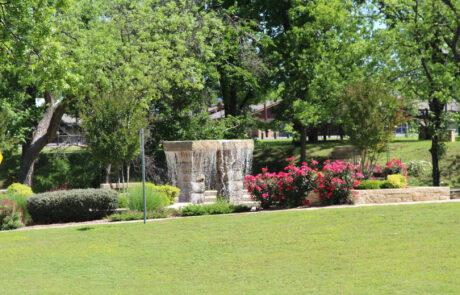Fountain near A Memory Grows retreat location in Granbury Texas